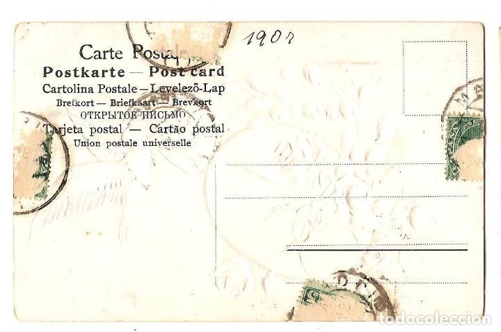 Postales: PRECIOSA POSTAL EN RELIEVE DE CARÁCTER ROMÁNTICO CON PURPURINAS MUY ANTIGUA FECHADA 1907 - Foto 2 - 171255864