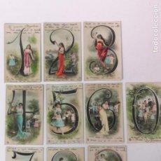 Postales: LOS 10 NÚMEROS, 10 POSTALES ROMÁNTICAS. Lote 171428158