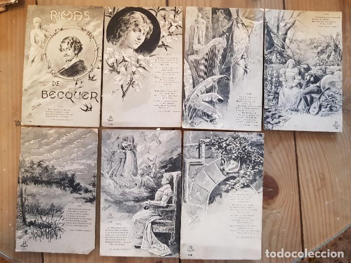 Postales: ANTIGUAS POSTALES ROMANTICAS RIMAS DE BECQUER 1913 - Foto 3 - 172096100