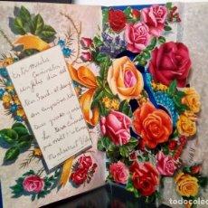 Postales: FELICITACION TROQUELADA * ROSAS * 1964. Lote 172402348
