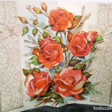 Postales: FELICITACION TROQUELADA * ROSAS * 1963. Lote 172403110