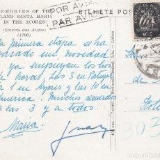 Postales: DON JUAN DE BORBÓN Y ESPOSA. POSTAL MANUSCRITA MONUMENTO DE LAS AZORES, CIRCULADA EN TORNO A 1953. Lote 173913904