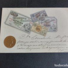 Postales: NORUEGA BILLETES Y MONEDA POSTAL EN RELIEVE 1902. Lote 174978958