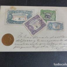 Postales: NORUEGA BILLETES Y MONEDA POSTAL EN RELIEVE 1902. Lote 174979078