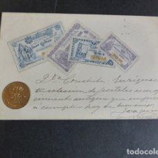 Postales: FINLANDIA BILLETES Y MONEDA POSTAL EN RELIEVE 1902. Lote 174979143
