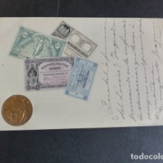 Postales: DINAMARCA BILLETES Y MONEDA POSTAL EN RELIEVE 1902. Lote 174979229