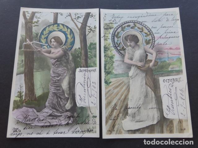Postales: MESES DEL AÑO COLECCION 12 POSTALES MODERNISTAS ART NOUVEAU 1903 - Foto 2 - 175179883