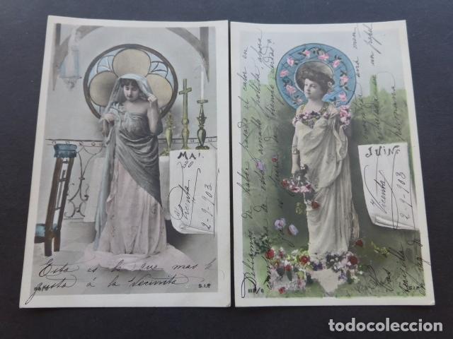 Postales: MESES DEL AÑO COLECCION 12 POSTALES MODERNISTAS ART NOUVEAU 1903 - Foto 3 - 175179883