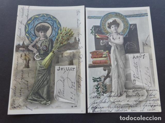 Postales: MESES DEL AÑO COLECCION 12 POSTALES MODERNISTAS ART NOUVEAU 1903 - Foto 4 - 175179883