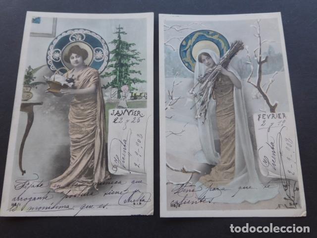 Postales: MESES DEL AÑO COLECCION 12 POSTALES MODERNISTAS ART NOUVEAU 1903 - Foto 5 - 175179883