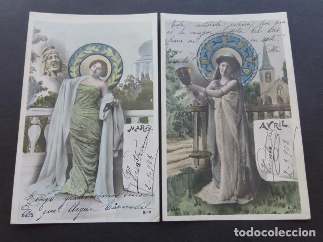 Postales: MESES DEL AÑO COLECCION 12 POSTALES MODERNISTAS ART NOUVEAU 1903 - Foto 6 - 175179883