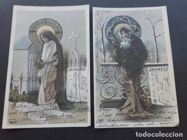 MESES DEL AÑO COLECCION 12 POSTALES MODERNISTAS ART NOUVEAU 1903 (Postales - Postales Temáticas - Especiales)