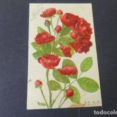 Postales: ROSAS POSTAL CROMOLITOGRAFICA EN RELIEVE. Lote 175451825