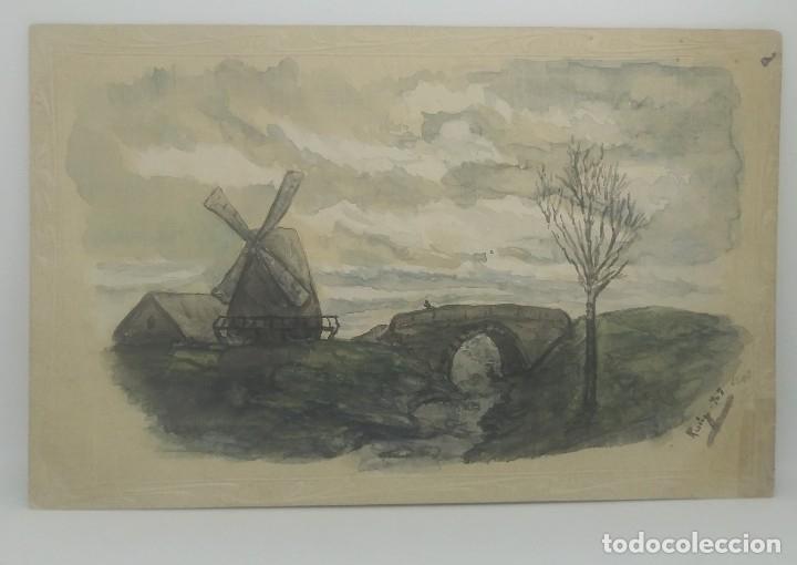 1903 Postal pintada a mano y firmada. Molino de viento