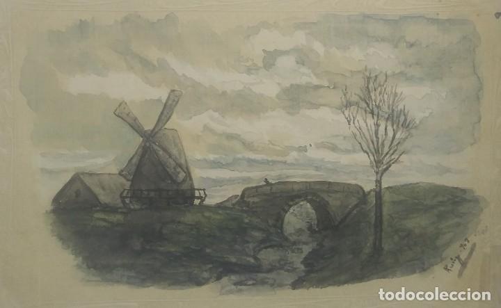 1903 Postal pintada a mano y firmada. Molino de viento - 175977068