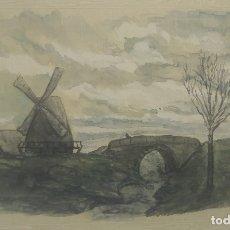 Postales: 1903 POSTAL PINTADA A MANO Y FIRMADA. MOLINO DE VIENTO. Lote 175977068