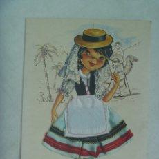 Postales: POSTAL DE TENERIFE ( ISLAS CANARIAS ): DIBUJO DE CHICA CON TRAJE TIPICO DE TELA !! . AÑOS 60. Lote 176562579