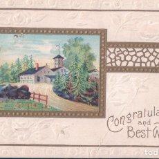 Postales: POSTAL EN RELIEVE - PAISAJE - CONGRATUTALTIONS AND BEST WISHES - FELICITACION - K L C SERIES 140. Lote 177367963