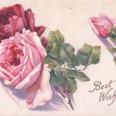 Postales: POSTAL EN RELIEVE - ROSAS - BEST WISHES - CIRCULADA 1917 - SERIE 412 C. Lote 177369425