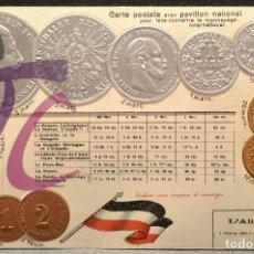 Postales: ANTIGUA POSTAL PABELLON NACIONAL FRANCIA MONEDAS DEL MUNDO ALEMANIA. Lote 177455705