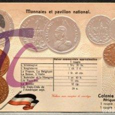 Postales: ANTIGUA POSTAL PABELLON NACIONAL FRANCIA MONEDAS DEL MUNDO AFRICA DEL ESTE ALEMANIA COLONIA. Lote 177455803