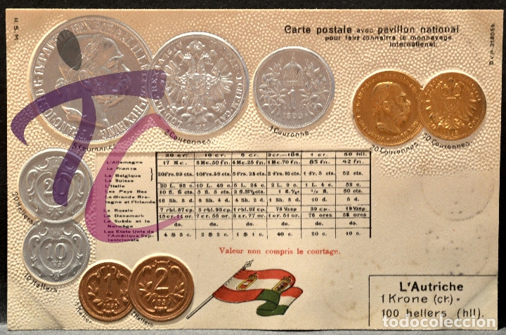 ANTIGUA POSTAL PABELLON NACIONAL FRANCIA MONEDAS DEL MUNDO AUSTRIA (Postales - Postales Temáticas - Especiales)