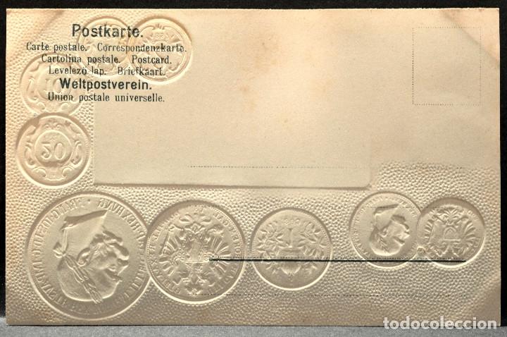 Postales: ANTIGUA POSTAL PABELLON NACIONAL FRANCIA MONEDAS DEL MUNDO AUSTRIA - Foto 2 - 177456379