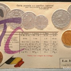 Postales: ANTIGUA POSTAL PABELLON NACIONAL FRANCIA MONEDAS DEL MUNDO BELGICA. Lote 177488199