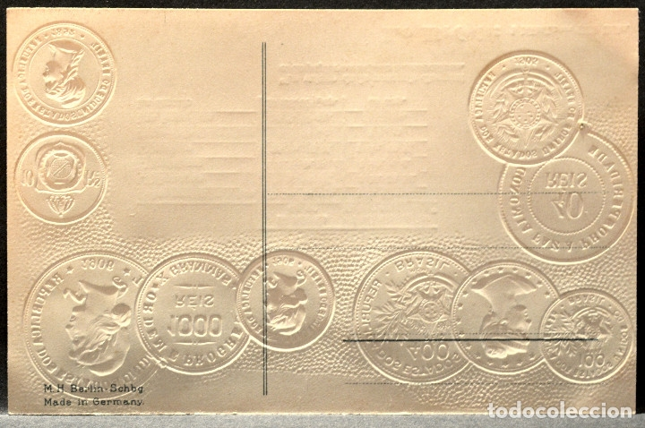 Postales: ANTIGUA POSTAL PABELLON NACIONAL FRANCIA MONEDAS DEL MUNDO BRASIL - Foto 2 - 177488247