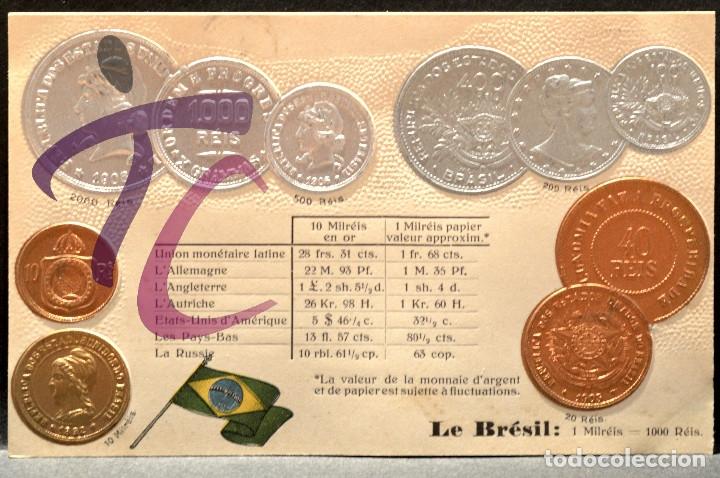 ANTIGUA POSTAL PABELLON NACIONAL FRANCIA MONEDAS DEL MUNDO BRASIL (Postales - Postales Temáticas - Especiales)