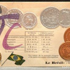 Postales: ANTIGUA POSTAL PABELLON NACIONAL FRANCIA MONEDAS DEL MUNDO BRASIL. Lote 177488247