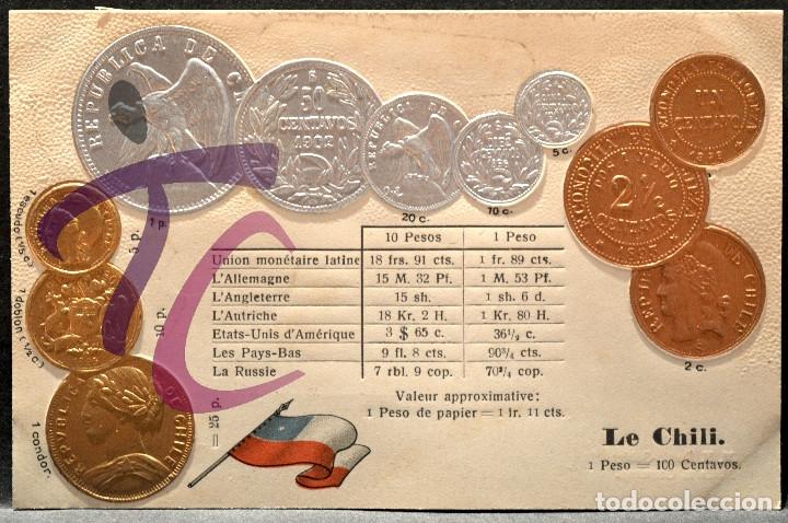 ANTIGUA POSTAL PABELLON NACIONAL FRANCIA MONEDAS DEL MUNDO CHILE (Postales - Postales Temáticas - Especiales)