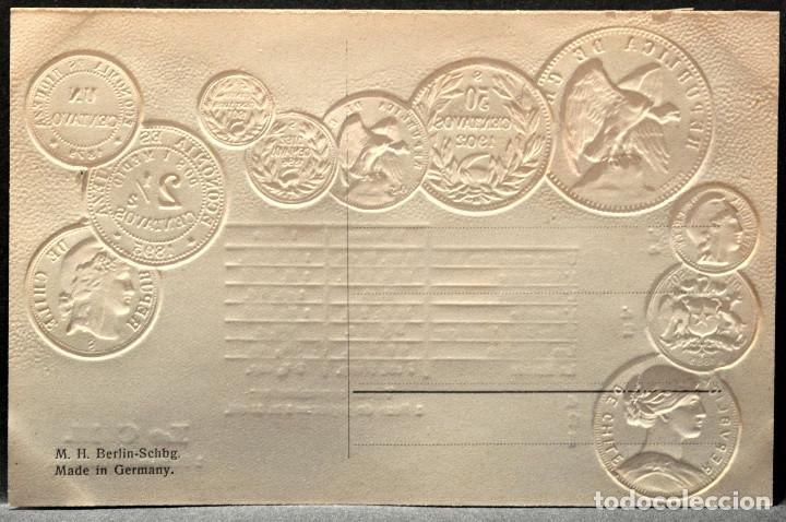 Postales: ANTIGUA POSTAL PABELLON NACIONAL FRANCIA MONEDAS DEL MUNDO CHILE - Foto 2 - 177529439