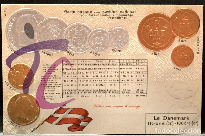ANTIGUA POSTAL PABELLON NACIONAL FRANCIA MONEDAS DEL MUNDO DINAMARCA (Postales - Postales Temáticas - Especiales)