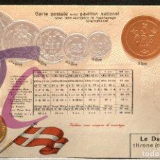 Postales: ANTIGUA POSTAL PABELLON NACIONAL FRANCIA MONEDAS DEL MUNDO DINAMARCA. Lote 177529458