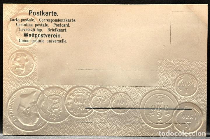 Postales: ANTIGUA POSTAL PABELLON NACIONAL FRANCIA MONEDAS DEL MUNDO DINAMARCA - Foto 2 - 177529458