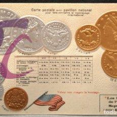 Postales: ANTIGUA POSTAL PABELLON NACIONAL FRANCIA MONEDAS DEL MUNDO ESTADOS UNIDOS DE AMERICA. Lote 177529485