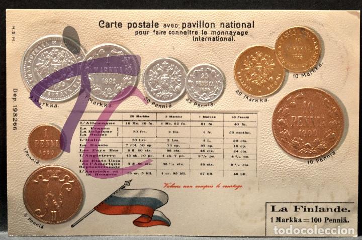 ANTIGUA POSTAL PABELLON NACIONAL FRANCIA MONEDAS DEL MUNDO FINLANDIA (Postales - Postales Temáticas - Especiales)