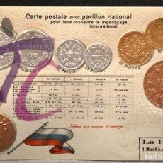 Postales: ANTIGUA POSTAL PABELLON NACIONAL FRANCIA MONEDAS DEL MUNDO FINLANDIA. Lote 177529510