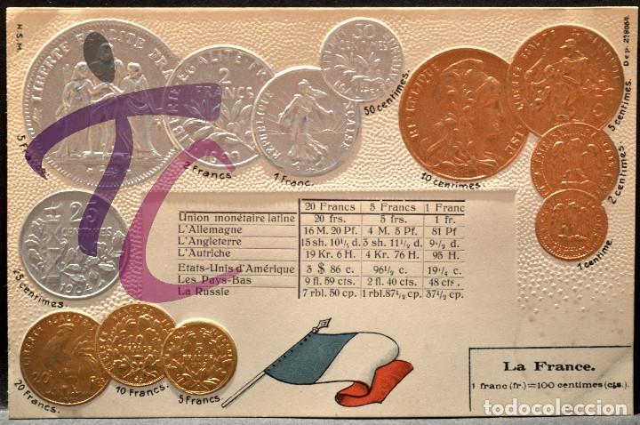ANTIGUA POSTAL PABELLON NACIONAL FRANCIA MONEDAS DEL MUNDO FRANCIA (Postales - Postales Temáticas - Especiales)