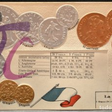Postales: ANTIGUA POSTAL PABELLON NACIONAL FRANCIA MONEDAS DEL MUNDO FRANCIA. Lote 177529515