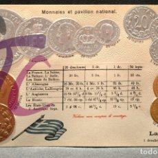 Postales: ANTIGUA POSTAL PABELLON NACIONAL FRANCIA MONEDAS DEL MUNDO GRECIA. Lote 177529520