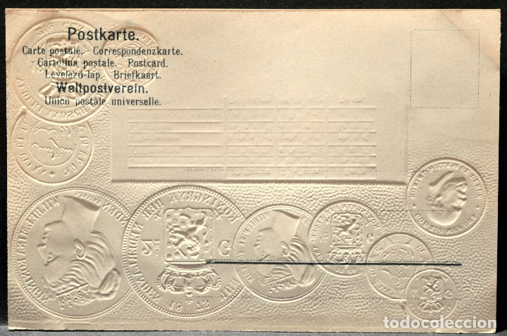 Postales: ANTIGUA POSTAL PABELLON NACIONAL FRANCIA MONEDAS DEL MUNDO HOLANDA - Foto 2 - 177529530