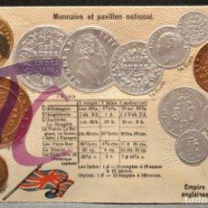 Postales: ANTIGUA POSTAL PABELLON NACIONAL FRANCIA MONEDAS DEL MUNDO INGLATERRA IMPERIO INDIAS Y CEYLON. Lote 177529550