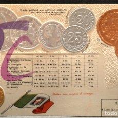 Postales: ANTIGUA POSTAL PABELLON NACIONAL FRANCIA MONEDAS DEL MUNDO ITALIA. Lote 177529583
