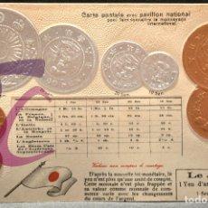 Postales: ANTIGUA POSTAL PABELLON NACIONAL FRANCIA MONEDAS DEL MUNDO JAPON. Lote 177529590