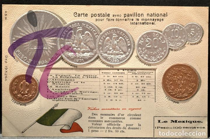 ANTIGUA POSTAL PABELLON NACIONAL FRANCIA MONEDAS DEL MUNDO MEJICO (Postales - Postales Temáticas - Especiales)