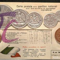 Postales: ANTIGUA POSTAL PABELLON NACIONAL FRANCIA MONEDAS DEL MUNDO MEJICO. Lote 177529603