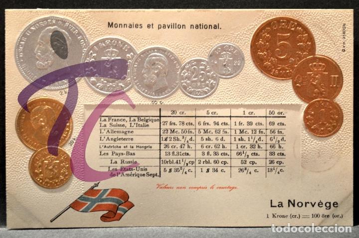 ANTIGUA POSTAL PABELLON NACIONAL FRANCIA MONEDAS DEL MUNDO NORUEGA (Postales - Postales Temáticas - Especiales)