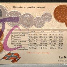 Postales: ANTIGUA POSTAL PABELLON NACIONAL FRANCIA MONEDAS DEL MUNDO NORUEGA. Lote 177529607